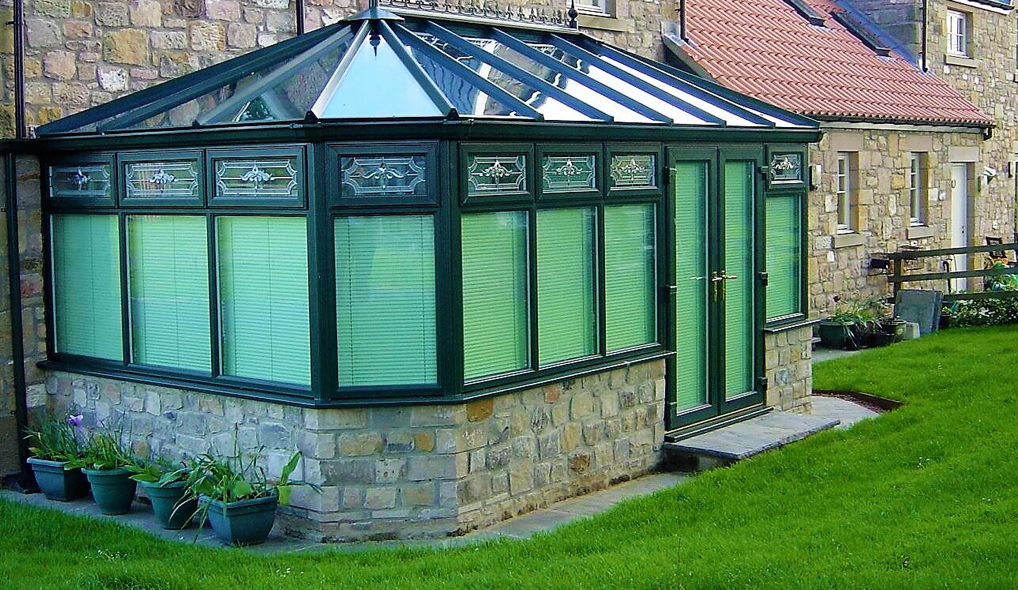 dark green conservatory